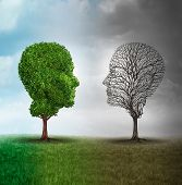 Human mood and emotion disorder concept as a tree shaped as two human faces with one half full of leaves and the opposite side empty branches as a medical metaphor for psychological contrast in feelings. poster