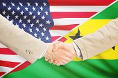 Businessmen shaking hands - United States and Sao Tome and Principe poster