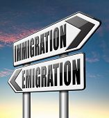 immigration or emigration political or economic migration by refugees or moving across the border by economic migrants  poster