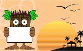 tiki hawaiian mask cartoon summer background in vector format very easy to edit poster