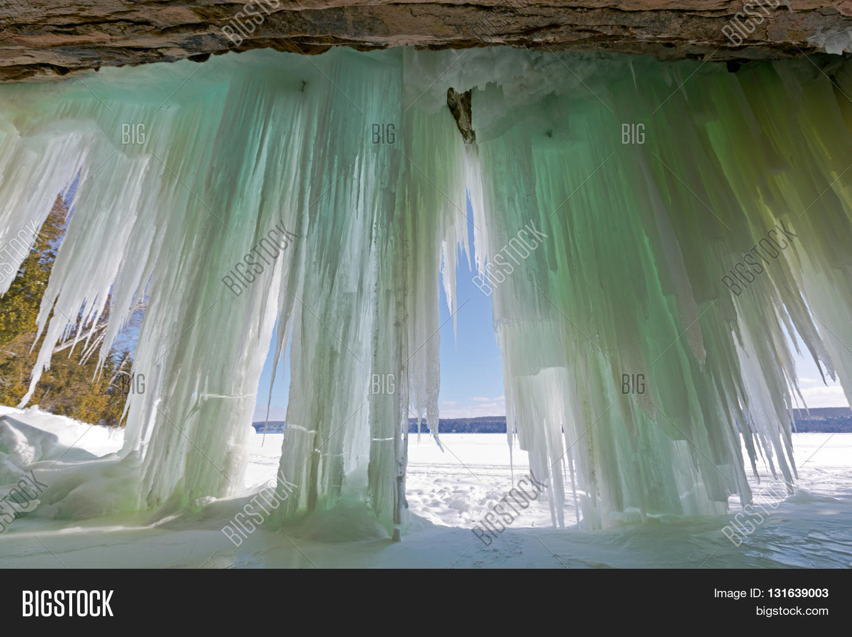 Ice Curtains Lake Image Photo Free Trial Bigstock