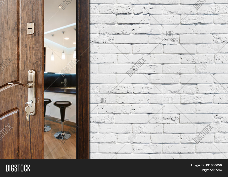 Half Opened Door Kitchen. Door Image & Photo | Bigstock