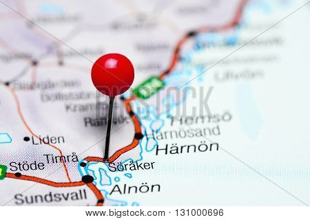 Soraker pinned on a map of Sweden