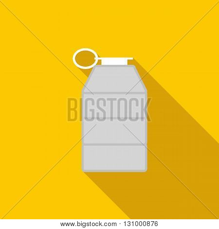 Grey grenade icon in flat style on a yellow background