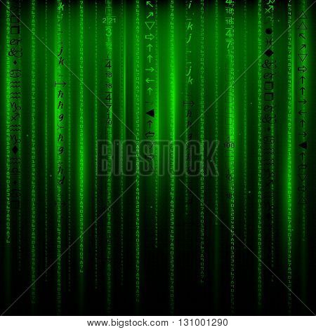 Matrix an abstract background the movement of vertical figures on a green background