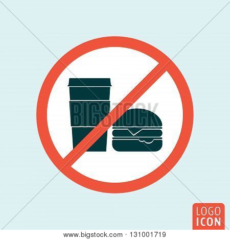No eating or drinking icon. Do not eat and drink symbol. Vector illustration