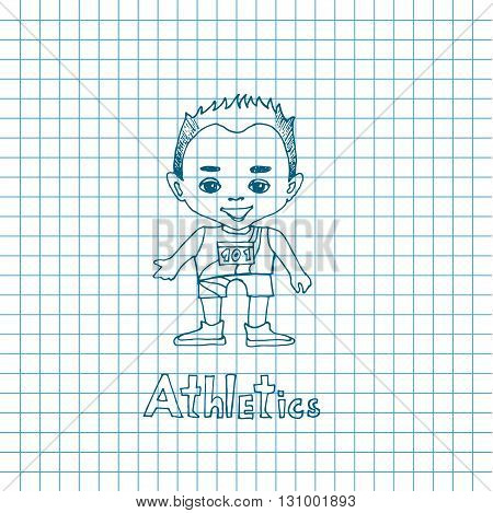 Vector cartoon boy athelete in sketch style