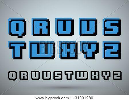 Pixel font alphabet old video game design. Letters Q R U V S T W X Y Z. Vector illustration.