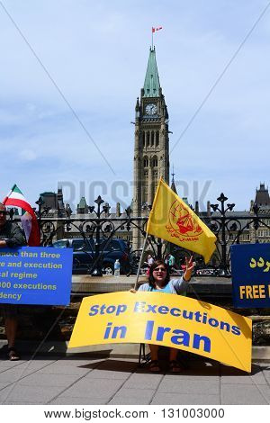 Ottawa Canada - May 21 2016: Iranians protesting on front of Parliament Hill against mullah executions of people in Iran