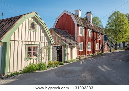 Idyllic small town Soderkoping during spring. Soderkoping is a historic medieval town in Sweden. poster