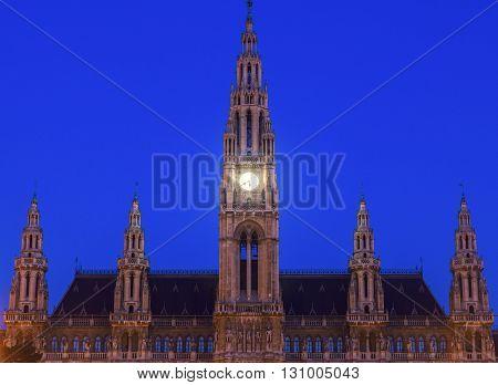 Vienna City Hall at night. Vienna Austria.