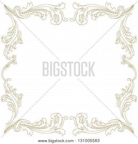 Golden Vintage baroque frame scroll ornament engraving border floral retro pattern antique style acanthus foliage swirl decorative design element filigree calligraphy vector | damask - stock vector