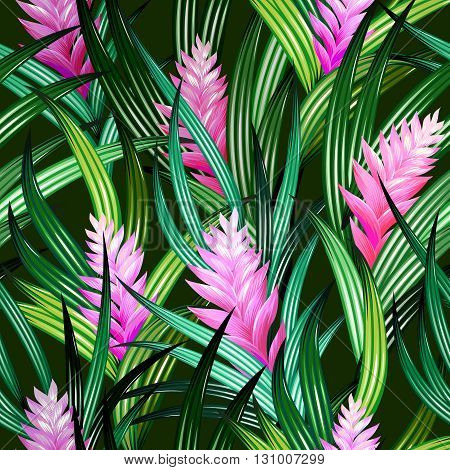 tropical vector pattern with amazing detailed flowers illustrations. For fashion, interior, wall paper. Editable vector elements, vibrant dark colors.