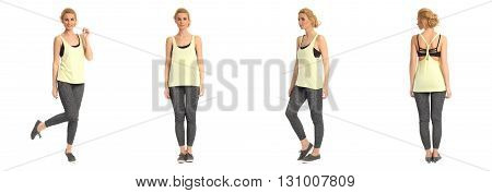 Full Length Portrait Of Beautiful Woman In  Leggins