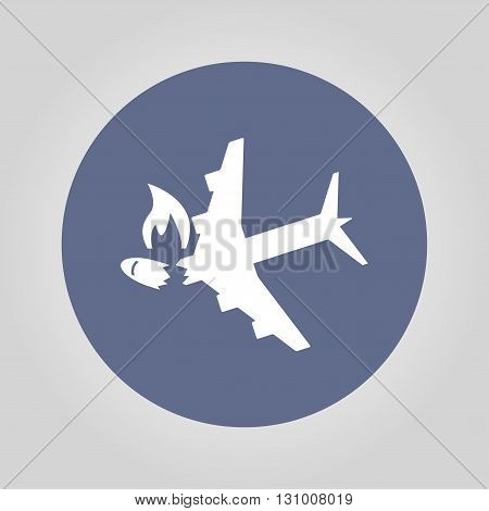 Airplane Crash vector icon. Style is flat symbol poster