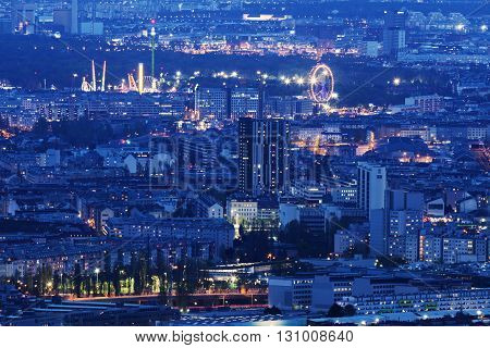 Aerial panorama of Vienna at night. Vienna Austria.