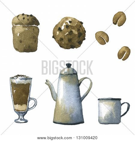 Set of watercolor illustrations on the theme of coffee.