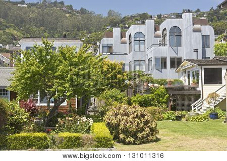 Architecture and gardens in Sausalito California area.
