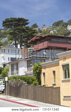 Sausalito California a neighborhood on a hillside.