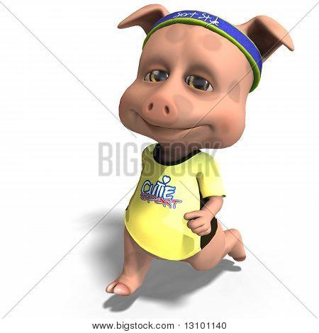 cute toon pig takes a jogging run
