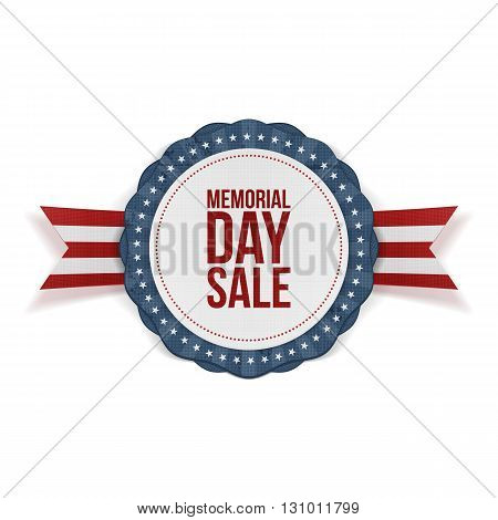 Memorial Day Sale patriotic Emblem and Ribbon. National American Holiday Background Template. Vector Illustration.