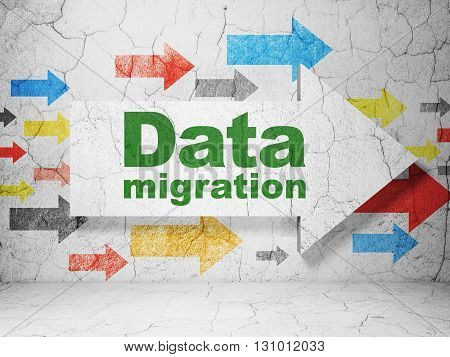 Information concept:  arrow with Data Migration on grunge textured concrete wall background, 3D rendering