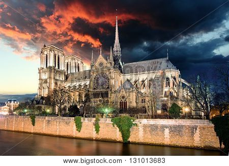 Paris - Notre Dame at sunrise France at sunset
