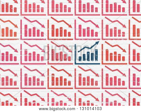 Finance concept: rows of Painted red decline graph icons around blue growth graph icon on White Brick wall background