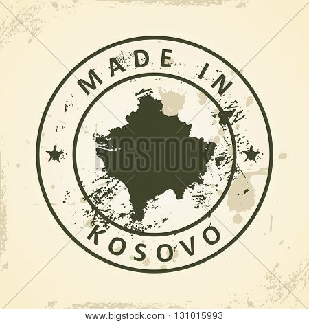 Grunge stamp with map of Kosovo - vector illustration poster