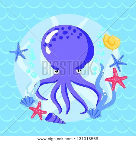 Cute Putple Octopus With Seasters And Shells