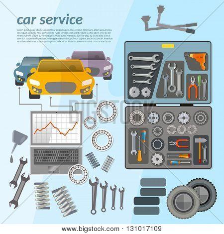 Car service mechanic tool box tuning diagnostics vector illustration