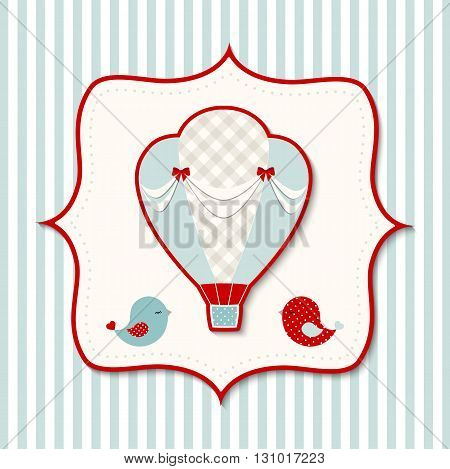 Vintage hot air balloon with two cute birds in abstract retro styled frame on striped background, vector illustration, eps 10 with tranparency