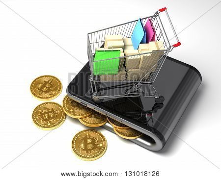 Digital Wallet With Bitcoins And Shopping Cart. 3D Illustration.