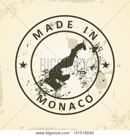 Grunge stamp with map of Monaco - vector illustration
