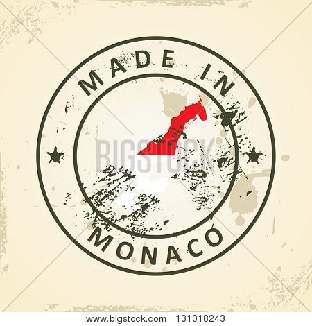 Grunge stamp with map flag of Monaco - vector illustration