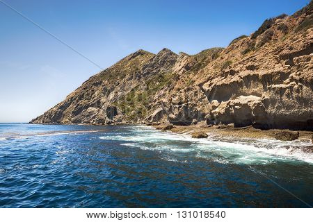 Shore line of California's Channel Island, Santa Rosa, during a bright sunny day