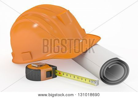 hard hat with blueprint and measuring tape 3D rendering isolated on white background