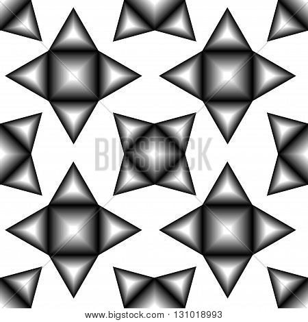 The pattern of black and white tetragonal stars. Vector seamless