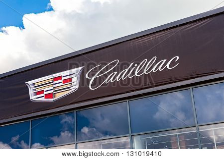 SAMARA RUSSIA - MAY 22 2016: Cadillac automobile dealership sign against the sky. Cadillac Motor Car Division is a American premium car manufacturer