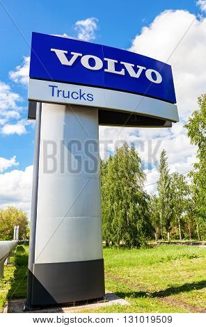 SAMARA RUSSIA - MAY 22 2016: Volvo dealership sign against the blue sky. Volvo is a Swedish multinational automaker company headquartered in Gothenburg Sweden