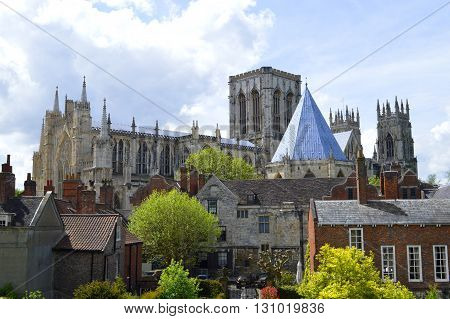 York Yorkshire England UK - May 22 2016 : The historical York Minster the cathedral of York the largest of its kind in Northern Europe.