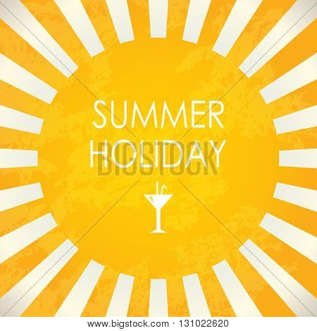 Summer holiday yellow banner, abstract vector background