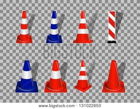 Set of Road signs. Orange and Blue Badge guardrails on transparent background. Vector Illustration. EPS10