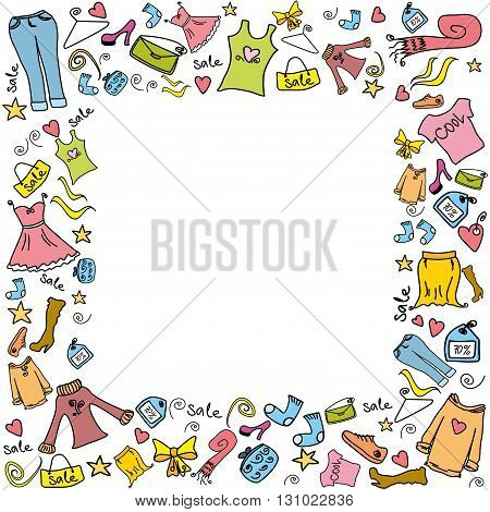 Sale fashion shopping background or frame, clothes and accessories, vector illustration