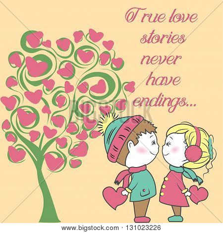 couple in love with a tree of love, Background Valentine's Day, hand drawing vector illustration.