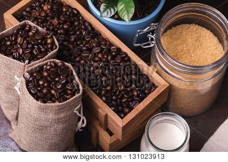 Jute Bags With Coffee Beans, Milk And Sugar