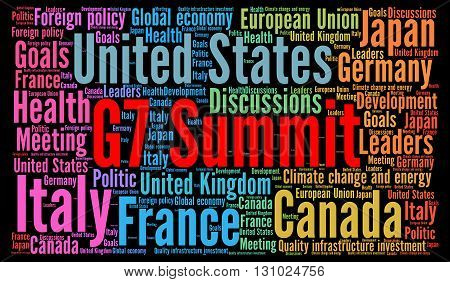 G7 summit word cloud concept with a black background poster
