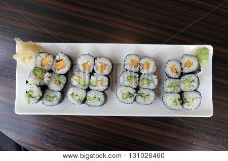 Kappa, Avocado And Oshinko Vegan Maki