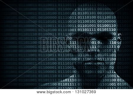 Man face blended with binary code digits. Concept of hacker, coding, programming, data protection etc. 3D rendering