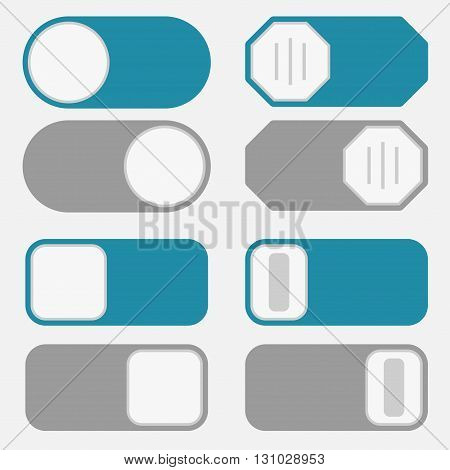 Toggle switch simple icons, on off position button interface trigger set, blue and gray control modern minimal flat design style
